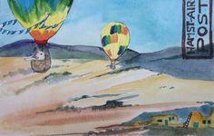 New Mexico, balloon, ginger small, hamstair post, desert, illustration, watercolor, kidlitart