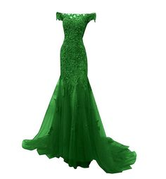 Cheap evening gown, Buy Quality green evening gown directly from China green evening Suppliers: Sexy Green Evening Gown Lace Off-the-shoulder Beads Appliqued Tulle Long Dresses Women Evening Party abiti da cerimonia da sera
