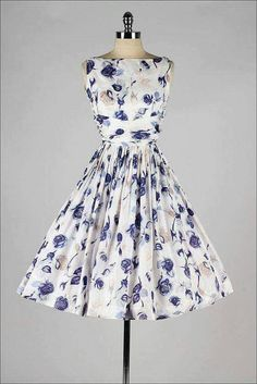 Floral printed dress in white beige gray and blue violet