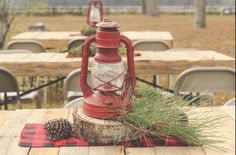 Vintage red lantern & sprig table centerpiece from a Rustic Lumberjack Birthday Party on Kara's Party Ideas | KarasPartyIdeas.com (6)