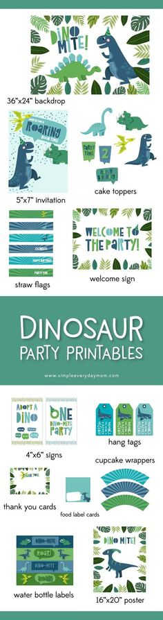 Dinosaur birthday party printables | Throw your kid the perfect dino party and get it all in this one printable pack that includes an editable invitation, favor tags, cake toppers, cupcake toppers, straw flags, welcome sign, backdrop, 4x6 table signs, cupcake wrappers, thank you cards, food card labels, water bottle labels and a 16x20 poster. #dinosaurparty