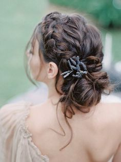 braided updo wedding hairstyle with lavender
