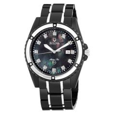 Bulova Men's 98D107 Marine Star Bracelet Mother of Pearl Dial Watch Bulova. $214.50. Water-resistant to 330 feet (100 M). Stainless steel case and bracelet. Men's diamond dial Marine Star bracelet watch MOP dial. Flat mineral crystal; even tail skeleton hands with white luminous fill. Total 12 diamonds, black MOP dial, calendar, back IP case and bracelet. Save 50% Off!