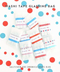 my washi tape glassine bag diy for chronicle books blog / free THANK YOU stickers printable!