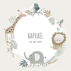 naissance - Jungle -Faire-part naissance - Jungle - Woodland cupcake toppers Baby shower Forest Animal Invitation Baptême de prince bébé de lion d'aquarelle Safari Theme Birthday, Baby Birthday, Storch Baby, Baby Embroidery, Baby Room Design, Safari Nursery, Welcome Baby, Baby Kind, Flower Frame