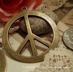 Antique Bronze Large Peace Sign Charms