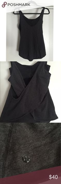 Lululemon Black/grey Tank+sports bra Lululemon grey tank, with cross back/open back. Black sport bra attached, adjustable straps, lining for padded cups, double layer support. Gently used, like new! Size 4 lululemon athletica Tops Tank Tops