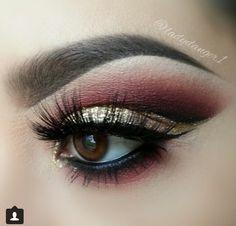 Gold and burgundy eyeshadow