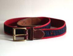 Vintage 80s preppy crab belt leather red blue