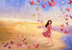 Erin McGuire : When the Butterflies Came Beautiful Artwork, Beautiful Images, I Love You Pictures, Doodle Doo, Arte Pop, Cute Illustration, Cartoon Art, Illustrators, Pop Art