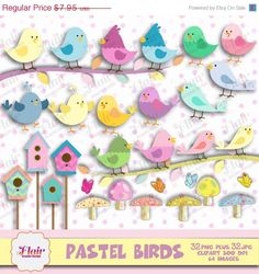 50% OFF PASTEL BIRDS Clipart, Bird Clipart, Cute Birds, Easter Birds, Birdhouse,  Butterflies, Tree Branch, Party Props, Invitations by FlairGraphicDesign on Etsy https://www.etsy.com/listing/224747558/50-off-pastel-birds-clipart-bird-clipart