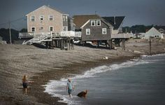 Many of the homes built near Egypt Beach in Scituate are on stilts to protect against storm surges. GREG DERR/The Patriot Ledger