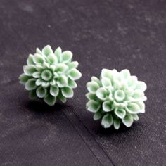 Mint Green Dahlia Stud Earrings Studs Flower Post by HeatherBerry, $9.00