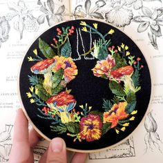 Embroidery on Black Fabric Highlights a Walk in Vibrant Blooms Best Embroidery Machine, Embroidery Hoop Art, Floral Embroidery, Cross Stitch Embroidery, Embroidery Patterns, Embroidery Machines, Stitch Witchery, Contemporary Embroidery, Creative Embroidery