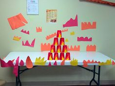 Bible story review over Shadrach, Meshach, and Abednego... Have the kids cut out from construction paper their own piece of fire, then ask them review questions from the story. For every correct answer the kids get to throw a ball to knock down the cups. Whichever team knocks down the most cups wins! Vbs Crafts, Church Crafts, Bible Crafts, Bible Study Lessons, Bible Study For Kids, Kids Church Lessons, Fiery Furnace, Church Games, Bible Games