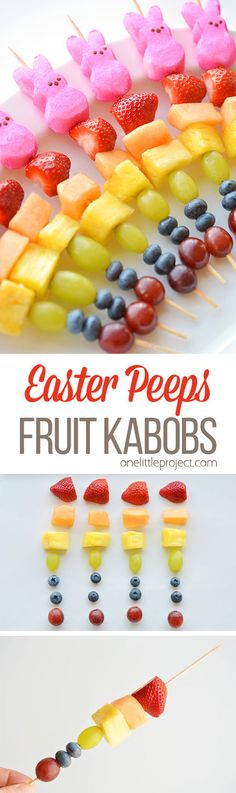 These rainbow Easter Peeps fruit kabobs are SO PRETTY! And they're so simple… These rainbow Easter Peeps fruit kabobs are SO PRETTY! And they're so simple to make. Such a fun and healthy idea for a Easter snack and a great alternative to candy! Easter Snacks, Easter Peeps, Hoppy Easter, Easter Treats, Easter Recipes, Easter Food, Fruit Snacks, Fun Fruit, Easter Desserts