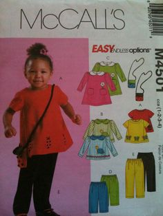 """McCall's #M4501. Toddlers' tops, dress, pants and bags, """"Easy endless options"""", size 1-4. Copyright 2004."""