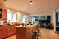 Kitchen-Ceiling-Tongue-and-Groove-Planks-Toward-Family-Room