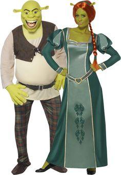 Disfraz pareja Shrek y Fiona™ : Disfraz Shrek para hombreEste disfraz Shrek para hombre está compuesto por un top, unos pantalones, una mascara y unos guantes (zapatos no incluidos). El top está relleno para poner en...