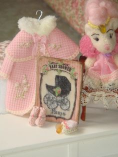 Dollhouse Miniature Baby Shower Children sign. Image desingning by Anabela