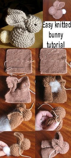 Easy knitted bunny tutorial.  This could take my knitted quadrilaterals to a new level.