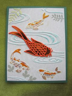 Koi fish die by Elizabeth Craft Designs goes well with this Cuttlebug embossing folder.