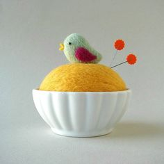 Cute little felted pincushion!   This design might look kind of cute (or ironic) made in an egg cup.