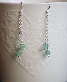 Cercei cu pietre semiprețioase aventurin verde Agate, Pearl Necklace, Swarovski, Handmade Jewelry, Pearls, Silver, Crystal, String Of Pearls, Handmade Jewellery