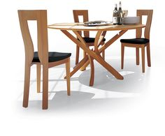 Beech Pentagon Shaped Table With Glass Center