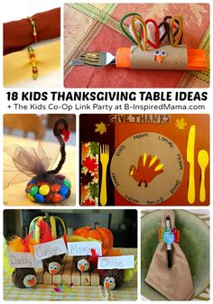 18 Creative Kids Thanksgiving Table Ideas - From Decor to Table Settings to Crafts and More! - at B-Inspired Mama Need some creative ideas for the kids Thanksgiving table? Or want to get the kids crafting for the family table? Here are 18 creative ideas! Thanksgiving Crafts For Kids, Thanksgiving Parties, Thanksgiving Activities, Autumn Activities, Thanksgiving Table, Fall Crafts, Holiday Crafts, Holiday Fun, Holiday Ideas