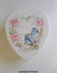 birds roses painting Memory Keepsake Box vintage by Decoupage Glass, Decoupage Paper, Boxed Christmas Cards, Handmade Christmas, Box Roses, Rose Pictures, Shabby Vintage, Wooden Hearts, Keepsake Boxes