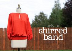 Give a shapeless top some life by adding a shirred band! www.makeit-loveit.com #clothing #refashion