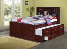 Maximize your space with this Captains Full Bed for Kids with Trundle, Storage Drawers, and a Bookcase! The simple, but refined design makes this bed a wonderful addition to your home. This bed has a