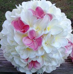 Plumeria Bouquet Bridal Bouquet Pink White by SilkFlowersByJean, $135.00