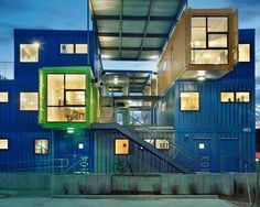 Back in 2009 we were stoked to see plans for the Box Office, a building of 12 offices built from 32 shipping containers in Providence, Rhode Island. Sea Container Homes, Container Shop, Container House Design, Container Buildings, Container Architecture, Architecture Design, Silo House, Contener House, Shipping Container House Plans