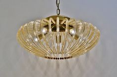 Venini pendant light, large size glass & brass, 1950´s, Italian in Vintage Chandeliers from Roomscape @ www.roomscape.net