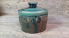 For KITTY Pottery Treat Jar Canister Lidded by KbOriginalsetc