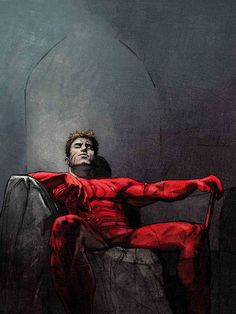An exhausted but satisfied Daredevil resting. The cover of DD #50 by Alex Maleev.