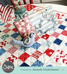 Red, White & Blue Pinwheel Quilt - perfect for summer!  Includes a step-by-step tutorial.
