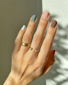 Pastel Color Nails, New Nail Colors, Color For Nails, Love Nails, Nail Colour, Natural Nail Polish, Natural Nails, Pretty Nail Art, Cool Nail Art