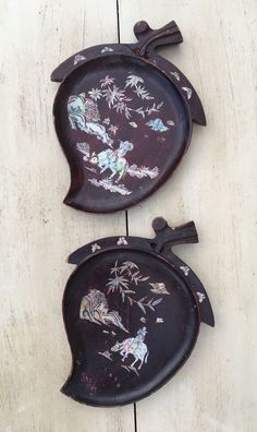 SOLD: 2 Vintage Genuine Asian Rosewood, Lacquer, MOP Inlaid Hangings See Photos