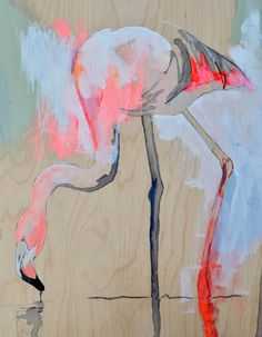 Caribbean Flamingo - abstract artwork - Lydie Paton Goauche, acryclic, watercolour and pencil on birchwood panel 11 x 14 inch panel etsy shop - What Lydie made next