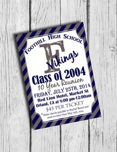 High School Reunion Invitation Printable High by BloomberryDesigns, $15.00