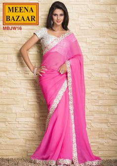 Embroidery Saree on Georgette Fabric by Meena Bazaar