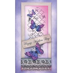 Card made using Kaisercraft Flutter Clear Stamp, Kaisercraft Occasions Clear Stamps and Kaisercraft Individual Butterflies Clear Stamps, all available from www.cardcraftplus.co.uk