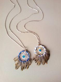 BFF Blue dream catcher necklace feather by DreamyFlowerWonder