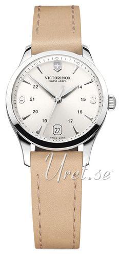 Victorinox Alliance Sølvfarget/Lær Ø30 mm Omega Watch, Watches, Silver, Leather, Accessories, Scale Model, Wristwatches, Clocks, Money