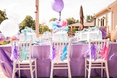 Dining Table from a Turquoise & Purple Modern Glam Frozen Birthday Party via Kara's Party Ideas KarasPartyIdeas.com (31)