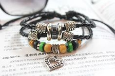 Retro fashion leather braided rope bracelet by Beautifuljewelrys, $3.99