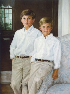 While this is a handsome oil portrait of two boys by a Portraits, Inc. artist, it could translate through photography easily.